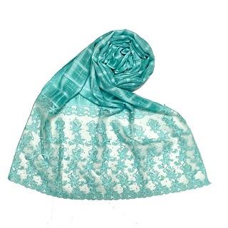 Designer trendy cotton diamond studded stole- Mint green