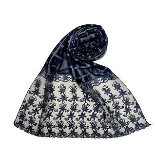 Designer trendy cotton diamond studded stole- Dark blue
