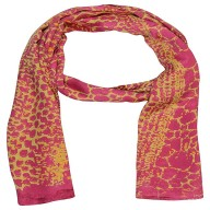 Satin Digital Print Stole -Pink