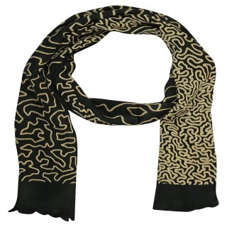 Satin Digital Print Stole- Black