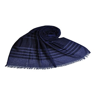 Stripes and Patches Embroidered Hijab - Blue