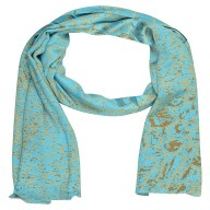 Satin Digital Print Stole -Sky Blue