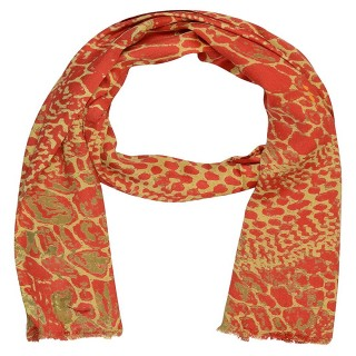 Satin Digital Print Stole- Orange