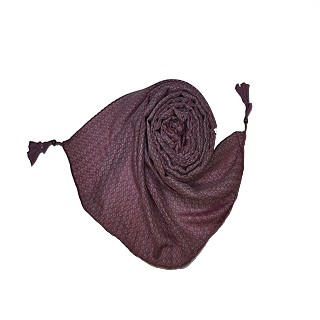 Circular Design All Over The Stole With Fringe's At The Border - Purple