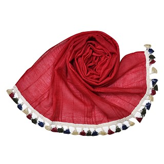 Designer Party Wear Striped Liner Stole With Colorful Fringe's - Red