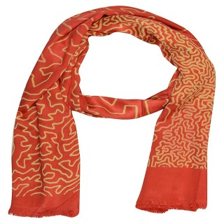 Satin Digital Print Stole-Red