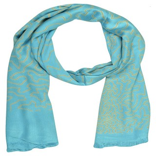 Digital Print Stole in Blue Color - Satin Fabric
