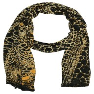 Digital Print Stole in Black Color - Satin Fabric