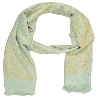 Digital Print Stole- in Light Blue