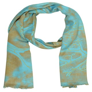 Digital Print Stole in Blue - Satin Fabric