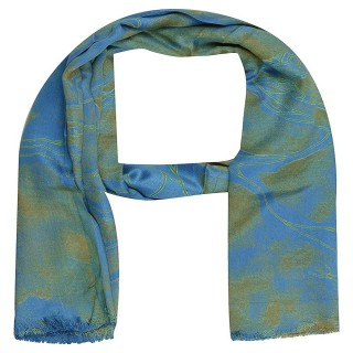 Premium Satin Blue Color Printed Stole