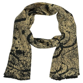 Premium Satin Printed  Stole- Black