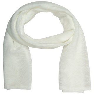 Cotton Plain Women's Stole - Milky White