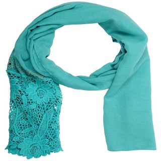 Designer Cotton Plain Women's Stole - Teal