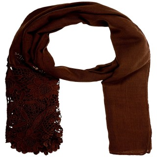 Designer Cotton Plain Women's Stole -Brown