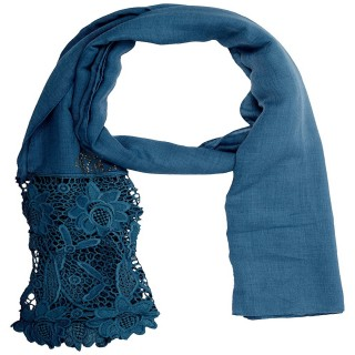 Designer Cotton Plain Women's Stole -Blue