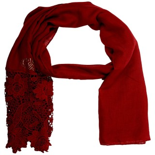 Designer Cotton Plain Women's Stole - Cherry Red