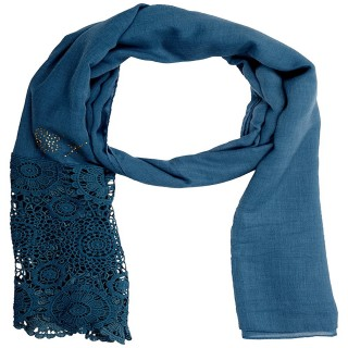 Premium Half Net Diamond Stole- Blue