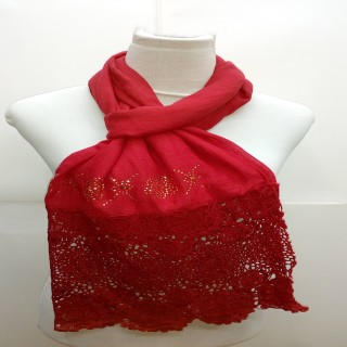 Premium Half Net Diamond Stole-Red