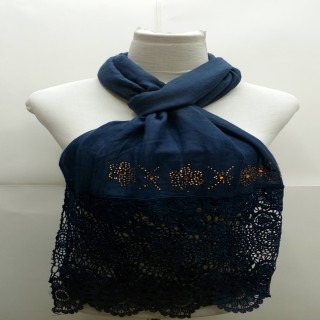 Premium Half Net Diamond Stole- Dark Blue