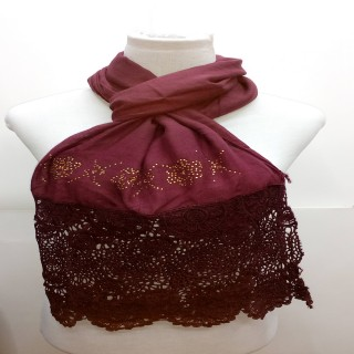 Premium Half Net Diamond Stole- Coffee