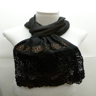 Premium Half Net Diamond Stole- Black