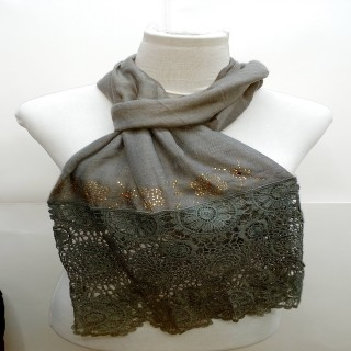 Premium Half Net Diamond Stole-Grey Color