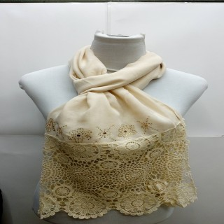 Premium Half Net Diamond Stole- Cream