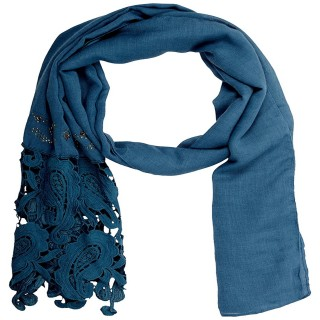 Premium Half Net Diamond Stole - Dark Blue