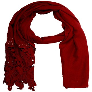 Premium Half Net Diamond Stole- Red