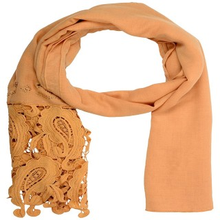 Premium Half Net Diamond Stole- Peach