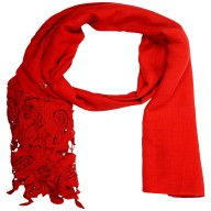 Half Net Diamond Stole- Red