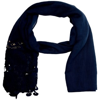 Premium Half Net Diamond Stole- Navy blue