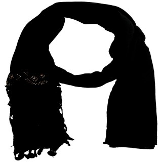 Half Net Diamond Stole- Black