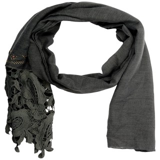 Premium Half Net Diamond Stole- Grey