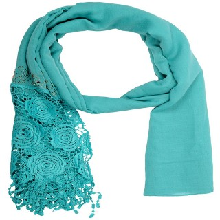 Premium Half Net Diamond Stole- Sea blue