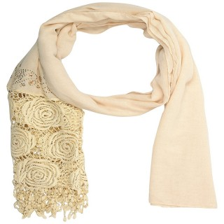 Half Net Diamond Stole-Cream