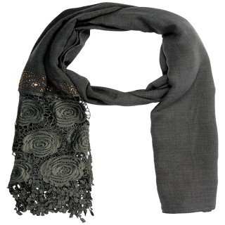 Half Net Diamond Stole- Grey