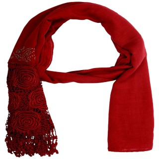Premium Half Net Diamond Stole- Dark red