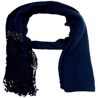 Premium Half Net Diamond Stole- Midnight blue