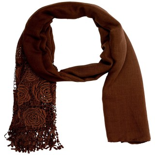 Half Net Diamond Stole- Brown