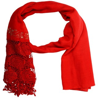 Lace cotton Diamond Stole- Red