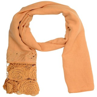 Lace Cotton Diamond Stole- Light Brown