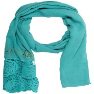 Lace Cotton Diamond Stole- Sky Blue