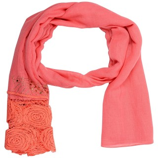 Lace Cotton Diamond Stole- Pink