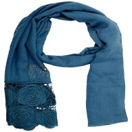 Lace Cotton Diamond Stole- Blue
