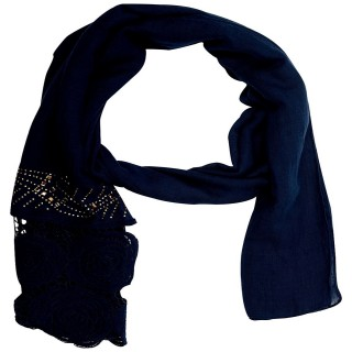 Half Net Diamond Stole- Blue