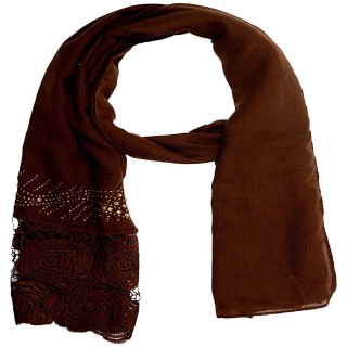 Lace cotton Diamond Stole- Dark Brown