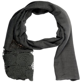 Lace cotton Diamond Stole- Grey