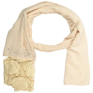 Lace cotton Diamond Stole- White